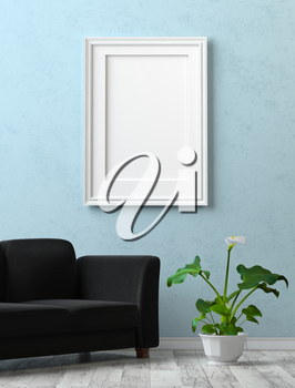 Mock up interior. Painting with a blank canvas on the blue stucco wall. Black sofa and calla flower in a pot. 3d rendering