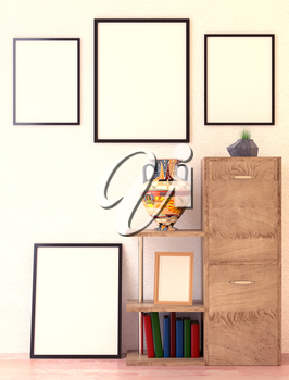 Mock up office interior. Wooden shelves and folder with documents. Ethno vase. Green grass in a vase. Paintings with a blank canvas on the wall. 3D-rendering