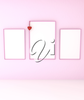 3D illustration of mock up abstract interior. Pink frame with blank canvas and a red heart on the tape.