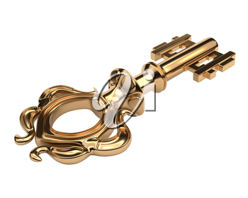 Antique golden key isolated on white background. Vector illustration.