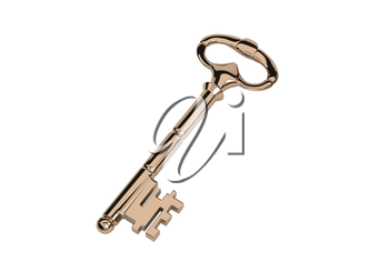 The Golden Key in the old style, isolated on white background. Vector illustration.