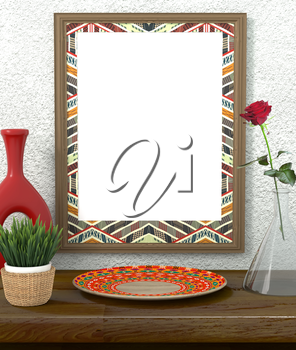 Mock up interior. Frame with bright ethnic ornament. Green grass in a pot on a wooden table. Red Rose in a glass vase. Red vase and dish ethnic, tribal style. Rough gray plastered wall. 3d rendering