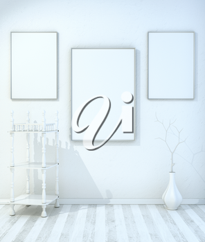 Minimalist mock up with shelves, a vase and a dry twig. 3d illustration