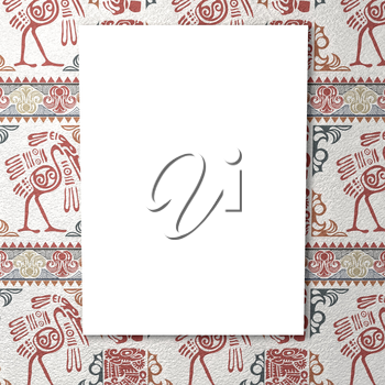 Bright white canvas in bright ethnic background with birds and ornament. Tribal background. 3d rendering.