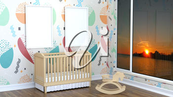 Children's room with landscape, rocking horse and cot. 3D rendering