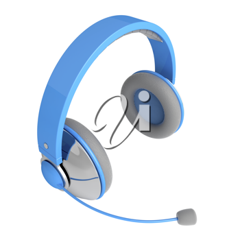 Royalty Free Clipart Image of Blue Headphones with a Microphone