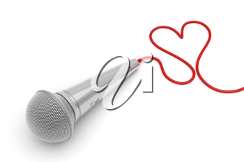 Royalty Free Clipart Image of a Microphone With the Cord in a Heart Shape