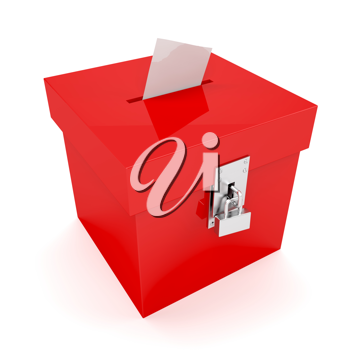 Royalty Free Clipart Image of a Red Ballot Box