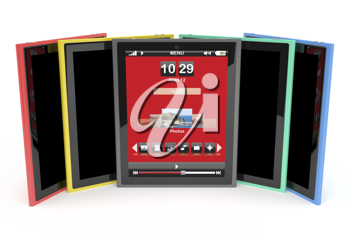 Royalty Free Clipart Image of a Variety of Tablet Computers