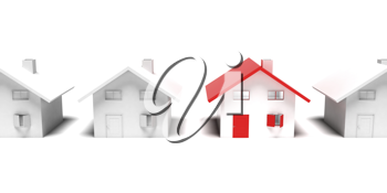 Royalty Free Clipart Image of a Row of Houses with one Unique House