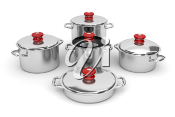 Set of stainless steel pots on white background