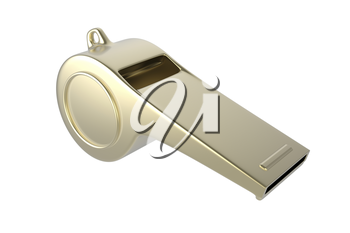 Golden whistle isolated on white