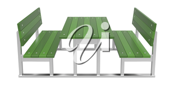 Modern picnic table on white background
