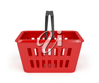 Empty red shopping basket on white background