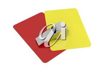 Red and yellow cards and metal whistle on white background
