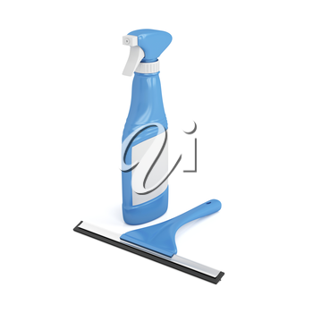 Squeegee and window cleaner spray bottle on white background