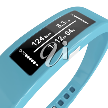Close-up image of fitness tracker on white background