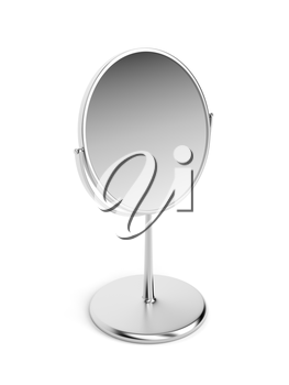 Silver magnifying mirror on white background