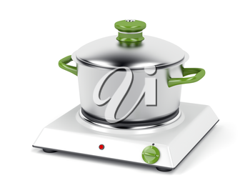 Hot plate with cooking pot on white background