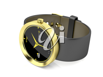 Gold smart watch on shiny white background