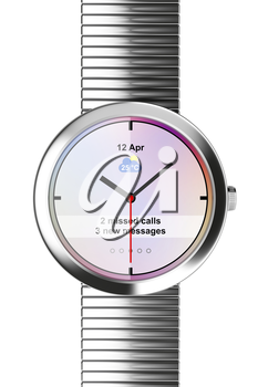 Silver Smart watch on white background