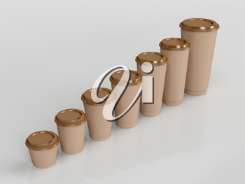 Brown paper coffee cups with different sizes