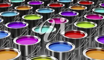 Group of paint cans with different colors