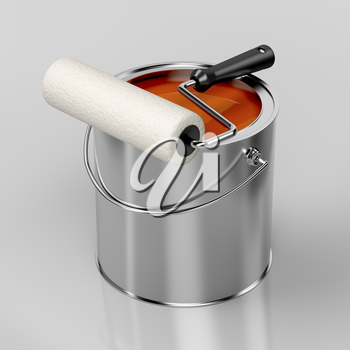Paint roller and metal can with orange paint