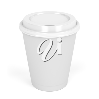 Paper coffee cup on white background