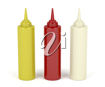 Mustard, ketchup and mayonnaise in plastic bottles
