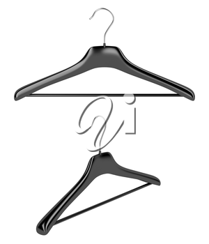 Front and side view of coat hangers, isolated on white background