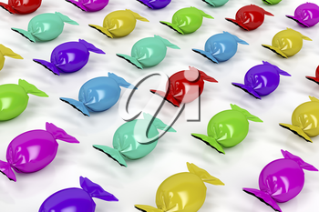 Group of colorful wrapped candies on white background