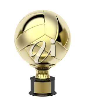 Gold volleyball trophy, isolated on white background