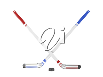 Ice hockey sticks and puck on white background, 3d illustration