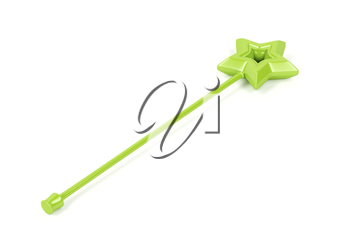 Green magic wand on white background