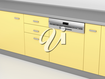 Modern integrated dishwasher in the kitchen, 3d illustration