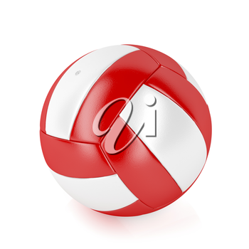 Red and white volleyball ball on shiny white background