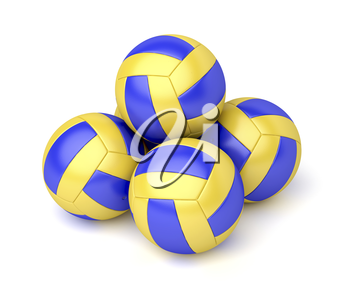 Group of five volleyball balls on white background