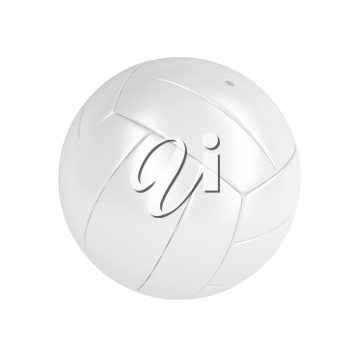 White leather volleyball ball isolated on white background