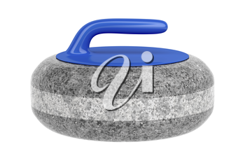 Side view of curling stone with blue handle, isolated on white background