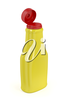 Open plastic bottle for mustard or mayonnaise on white background