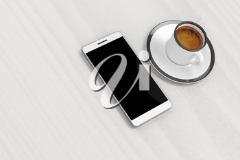 Smartphone and coffee cup on table, top view