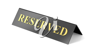 Reserved sign on white background