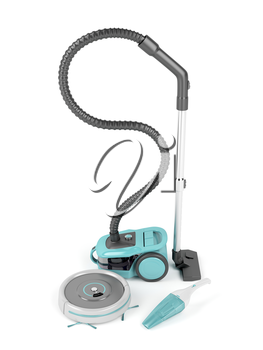 Bagless, robotic and handheld vacuum cleaners on white background