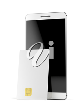 Blank bank or telephone card and smartphone on white background