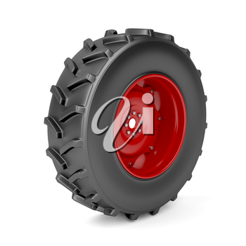 Red tractor wheel on white background