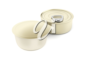 Two different type of tin cans for pate, cheese, butter or other food
