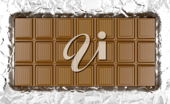 Milk chocolate bar on wrinkled aluminum foil