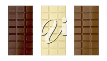 White, brown and dark chocolate bars, isolated on white background