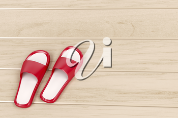 Red slippers on wooden floor
